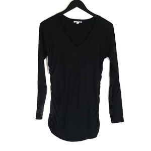 James Perse Black Ruched Long Sleeve Top